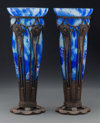 Pair of Tall Andre Delatte Inside-Decorated, Blown-Out and Iron-Mounted Glass Vases, circa 1925 Marks: ADELATTE