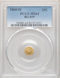 California Fractional Gold , 1860/50 25C Liberty Round 25 Cents, BG-819, R.4, MS64 PCGS. PCGS Population: (7/1). NGC Census: (4/0). ...