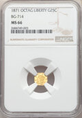 California Fractional Gold , 1871 25C Liberty Octagonal 25 Cents, BG-714, R.3, MS66 NGC. NGC Census: (8/3). PCGS Population: (29/7). ...