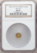 California Fractional Gold , 1853 25C Liberty Octagonal 25 Cents, BG-101, Low R.5, MS61 NGC. NGC Census: (3/9). PCGS Population: (5/42). ...