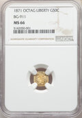California Fractional Gold , 1871 50C Liberty Octagonal 50 Cents, BG-911, R.4, MS66 NGC. NGC Census: (8/1). PCGS Population: (6/0). ...