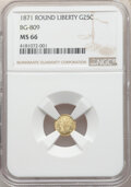 California Fractional Gold , 1871 25C Liberty Round 25 Cents, BG-809, Low R.4, MS66 NGC. NGC Census: (7/2). PCGS Population: (9/1). ...