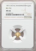 California Fractional Gold , 1872 25C Washington Octagonal 25 Cents, Baker-503, BG-722, Low R.4, MS66 NGC. Washington Head, Frontier & Bellemere maker. ...