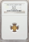 California Fractional Gold , 1856 50C Liberty Octagonal 50 Cents, BG-307, High R.5, MS63 NGC. By maker Frontier, Deviercy & Co. This Select Mint State e...