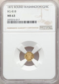 California Fractional Gold , 1872 25C Washington Round 25 Cents, BG-818, Low R.4, MS63 NGC. Important Washington Head variety by Frontier & Bellemere. T...