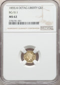 California Fractional Gold , 1855/4 $1 Liberty Octagonal 1 Dollar, BG-511, High R.4, MS62 NGC. A satiny, bright yellow-gold example, showing well-define...