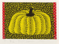 Prints & Multiples, Yayoi Kusama (b. 1929). Pumpkin, 1982. Lithograph in colors, with fabric collage Vellin d'Arches paper. 6-1/4 x 8-7/8 in...