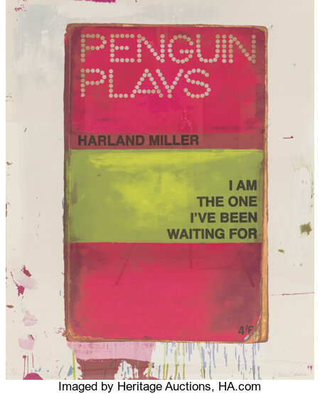Harland Miller (b. 1964) I Am The One I've Been Waiting For, 2012 Screenprint in colors on paper 49-1/4 x 39-1/4 inch...