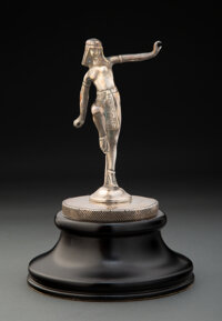 Etling Egyptian Dancer Nickel Silver on Bronze Automobile Mascot Designed by D. Alonzo, circa 1920 Marks: D