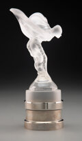 Glass, Rare Limited Edition Lalique Clear and Frosted Glass Spirit of Ecstasy Mascot on Chromed Metal Stand, circa 1990... (Total: 2 Items)