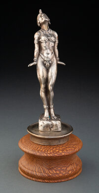 Elly Josephine Baker Automobile Mascot Nickel Silvered Bronze, circa 1920 Marks: ELLY 8-3/4 inches (22.2 c