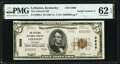 Low Serial Number 6 Lebanon, KY - $5 1929 Ty. 2 The Citizens National Bank Ch. # 3988 PMG Uncirculated