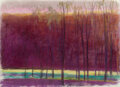 Works on Paper, Wolf Kahn (American, 1927-2020). Tall Trees in a Dark Red World. Pastel on paper. 22 x 32 inches (55.9 x 81.3 cm) (sheet...