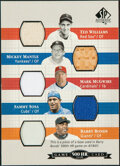 Baseball Cards:Singles (1970-Now), 2003 SP Authentic 500 HR Club Game Used Base/Bat/Jersey Relic Card - Williams, Mantle, McGwire, Sosa & Bonds. ...
