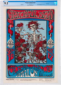 "Grateful Dead 1966 ""Skeleton & Roses"" Concert Poster FD-26 Graded 9.2 and Double-Signed"