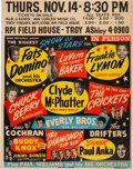 Music Memorabilia:Posters, Buddy Holly, Chuck Berry, Eddie Cochran, Everly Bros. 1957 Biggest Show of Stars Jumbo Concert Poster....