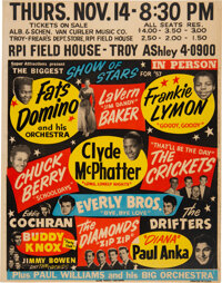 Buddy Holly, Chuck Berry, Eddie Cochran, Everly Bros. 1957 Biggest Show of Stars Jumbo Concert Poster