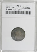 Early Dimes: , 1805 10C 5 Berries AG3 ANACS. JR-1. PCGS Population (2/17).(#4478)...