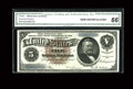 Large Size:Silver Certificates, Fr. 264 $5 1886 Silver Certificate CGA Gem Uncirculated 66....