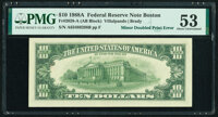 Minor Doubled Print on Back Error Fr. 2028-A $10 1988A Federal Reserve Note. PMG About Uncirculated 53
