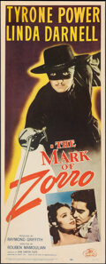 "Movie Posters:Swashbuckler, The Mark of Zorro (20th Century Fox, R-1958). Fine+ on Paper. Insert (14"" X 36""). Swashbuckler.. ..."