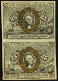 Fractional Currency:Second Issue, Fr. 1286 25¢ Second Issue Vertical Pair Very Fine+.. ...