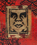Works on Paper, Shepard Fairey (b. 1970). Icon Stencil, 2018. Material stencil and mixed media collage on paper. 20-1/2 x 17 inches (52....