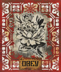 Works on Paper, Shepard Fairey (b. 1970). Obey Lotus, 2019. Stencil and mixed media collage on paper. 29-1/2 x 24-1/2 inches (74.9 x 62....
