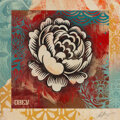 Works on Paper, Shepard Fairey (b. 1970). Flower Stencil, 2019. Material stencil and mixed media collage on paper. 21-1/4 x 21-1/4 inche...