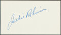 Autographs:Index Cards, Jackie Robinson Signed Cut Signature. He's the mos...