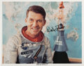 Explorers:Space Exploration, Wally Schirra Signed Silver Spacesuit Color Photo....