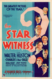 """The Star Witness (Warner Bros., 1931). Folded, Very Fine-. One Sheet (27"""" X 41"""") Style B. Thriller"""