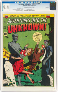 Adventures Into The Unknown #20 Northford Pedigree (ACG, 1951) CGC NM 9.4 Cream to off-white pages