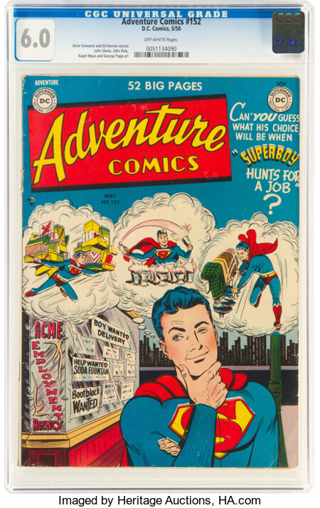 Adventure Comics #152 (DC, 1950) CGC FN 6.0 Off-white pages....
