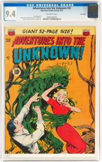 Adventures Into The Unknown #32 River City Pedigree (ACG, 1952) CGC NM 9.4 Off-white pages
