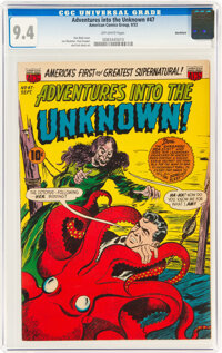 Adventures Into The Unknown #47 Northford Pedigree (ACG, 1953) CGC NM 9.4 Off-white pages