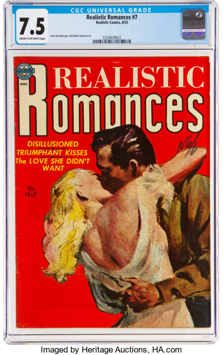 Realistic Romances #7 (Avon, 1952) CGC VF- 7.5 Cream to off-white pages....