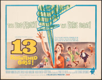 """13 Frightened Girls & Other Lot (Columbia, 1963). Folded, Very Fine. Half Sheet (22"""" X 28"""") & One Shee..."""