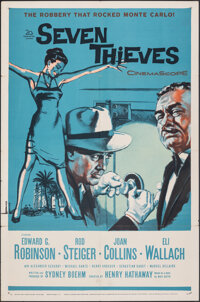 "Seven Thieves (20th Century Fox, 1959). Folded, Very Fine-. One Sheet (27"" X 41""). Crime"