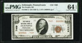 National Bank Notes:Pennsylvania, Zelienople, PA - $10 1929 Ty. 2 The Peoples National Bank Ch. # 7409 PMG Choice Uncirculated 64 EPQ.. ...