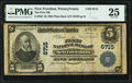 National Bank Notes:Pennsylvania, New Freedom, PA - $5 1902 Plain Back Fr. 598 The First National Bank Ch. # 6715 PMG Very Fine 25.. ...