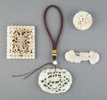 Carvings, Four Chinese Jade Carved Articles. 3-1/4 x 2-3/4 inches (8.3 x 7.0 cm) (largest, rectangular pendant). ... (Total: 4 Items)