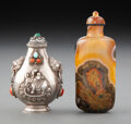 Carvings, Two Chinese Snuff Bottles. 3-7/8 x 1-1/2 x 0-7/8 inches (9.8 x 3.8 x 2.2 cm) (tallest). ... (Total: 2 Items)