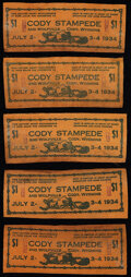 Obsoletes By State:Wyoming, Cody, WY- Cody Stampede $1 July 2-4, 1934 Leather Notes Ten Examples. Not Graded.. ... (Total: 10 items)