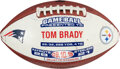 Football Collectibles:Balls, 2015 New England Patriots Painted Game Ball Presented to Tom Brady After Four-Touchdown Game....