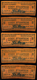 Obsoletes By State:Wyoming, Cody, WY- Cody Stampede $1 July 2-4, 1934 Leather Notes Ten Examples.. ... (Total: 10 notes)