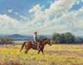 Paintings, Martin Grelle (American, b. 1954). Bosque County Cowboy, 1998. Oil on canvasboard . 11 x 14 inches (27.9 x 35.6 cm). Sig...