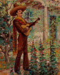 Paintings, Carlos Vierra (American, 1876-1937). The Serenade (diptych). Oil on board, each. 20 x 16 inches (50.8 x 40.6 cm) (each)... (Total: 2 Items)