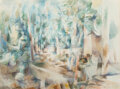 Paintings, Willard Ayer Nash (American, 1893-1943). Cubist Road Through Trees. Watercolor on paper. 14-1/2 x 19-1/2 inches (36.8 x ...