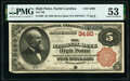 High Point, NC - $5 1882 Brown Back Fr. 469 The National Bank of High Point Ch. # 3490 PMG About Uncirc